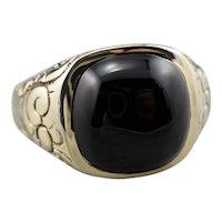 Antique Black Onyx Patterned Statement Ring