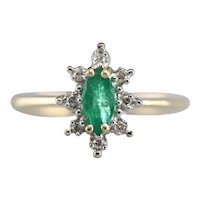 Marquise Emerald and Diamond Halo Ring