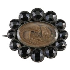 Victorian Jet Hair Mourning Brooch
