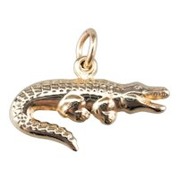 Puffy 14 Karat Gold Alligator Charm