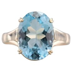 Upcycled Retro Blue Topaz Solitaire Ring