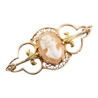 Art Nouveau Cameo Filigree Brooch