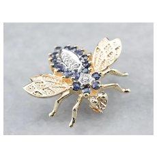 Vintage Sapphire Diamond Bee Brooch