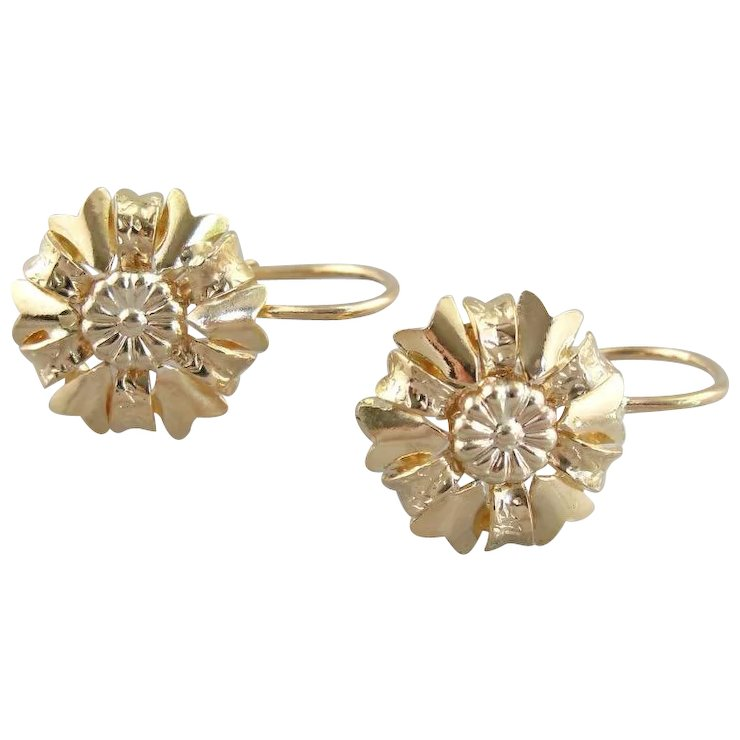 Vintage Italian Sunflower Earrings Mid Century Mediterranean 18k Gold
