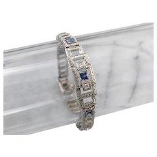 Art Deco Synthetic Sapphire and Diamond Link Bracelet