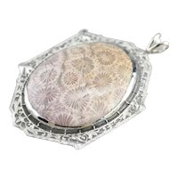 Upcycled Filigree Fossilized Coral Cabochon Pendant