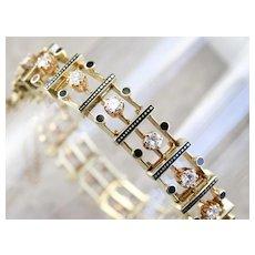 Stunning Diamond and Black Enamel Link Bracelet