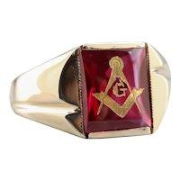 Retro Men's Ruby Red Glass Masonic Ring