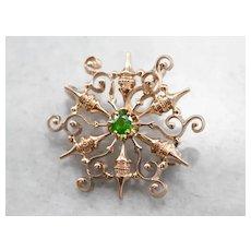 Ornate Demantoid Garnet Brooch or Pendant