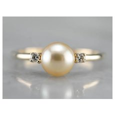 Cultured Champagne Pearl and Diamond Ring