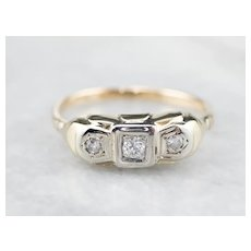 Vintage Retro Era Three Stone Diamond Ring with Great Shine