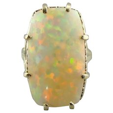 Confetti Color, Large Opal in Vintage Cocktail Mounting