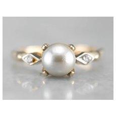 Retro Era Cultured Pearl and Diamond Ring