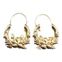 Vintage Floral Hoop Earrings