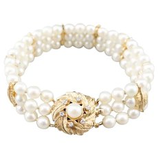 Botanical Cultured Pearl Multi Strand Bracelet