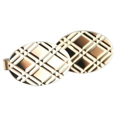 Vintage Cross Hatched Pattern Cufflinks
