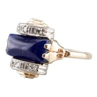 Retro Era Sodalite Cabochon and Diamond Ring