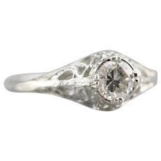 Pretty Upcycled Diamond Solitaire Ring
