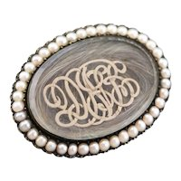 Victorian DNB Monogram Hair Mourning Brooch
