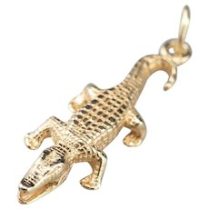 Yellow 14 Karat Gold Crocodile Charm