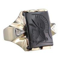 Retro Black Onyx Intaglio and Diamond Ring