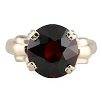 Upcycled Retro Era Garnet Solitaire Ring