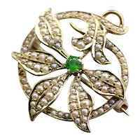 Art Nouveau Demantoid Garnet and Seed Pearl Brooch or Pendant