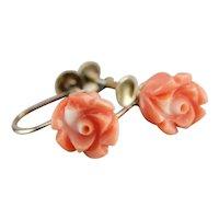 Vintage Carved Coral Rose Earrings