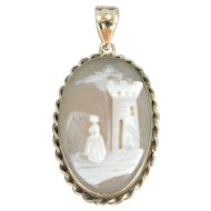 Beautifully Carved Medieval Landscape Cameo Pendant