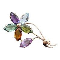 Marquise Gemstone Rainbow Flower Pin