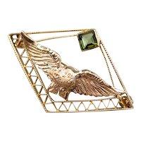 Vintage Green Tourmaline Eagle Lapel Pin