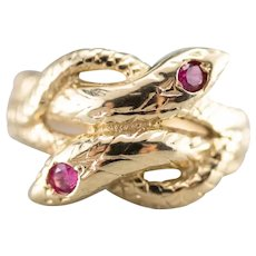 Vintage Ruby Interlocking Snake Ring