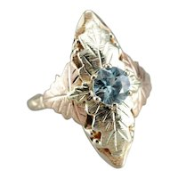 Upcycled Blue Zircon Solitaire Dinner Ring