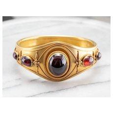 Antique Bloomed 14 Karat Gold Garnet Bracelet