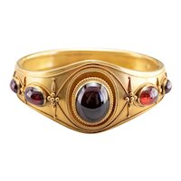 Antique Bloomed 14 Karat Gold Garnet Bracelet
