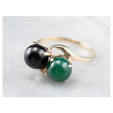 Black and Green Onyx Bypass Ring