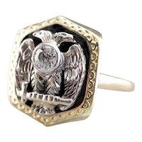 Antique Old Mine Cut Diamond Masonic Ring