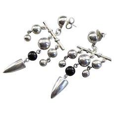 Funky Beaded Black Onyx Drop Earrings