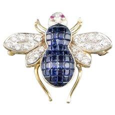 Sapphire Diamond Bee Brooch
