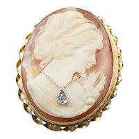 Mid Century Diamond Cameo Pin or Pendant