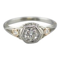 Late Art Deco Diamond Engagement Ring