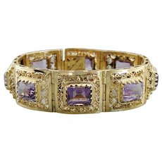 14K Yellow Gold and Amethyst Filigree Panel Bracelet, Upcycled