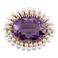 Amethyst Cultured Pearl Halo Watch Pin or Brooch