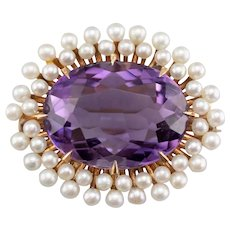Amethyst Cultured Pearl Halo Watch Pin or Brooch