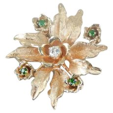 Lovely European Cut Diamond Floral Brooch or Pendant