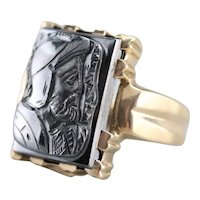 Men's Hematite Intaglio Statement Ring