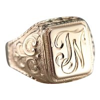 "Antique ""JN"" Monogrammed Signet Ring"