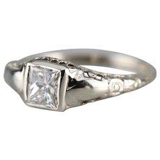 Floral Filigree Princess Cut Diamond Ring