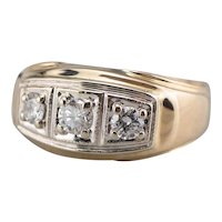 Retro Three Diamond Men's Statement Ring