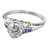Lovely Art Deco Old Mine Cut Diamond and Synthetic Sapphire Ring